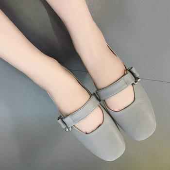 Metal Embellishment Square Toe Flat Shoes