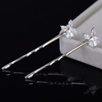 2 Pcs Rhinestone Rabbit Shape Hairpins - SILVER