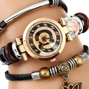Faux Leather Number Charm Bracelet Watch - BLACK