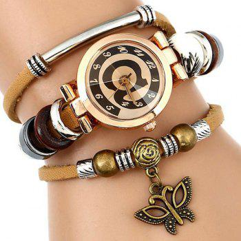 Faux Leather Number Charm Bracelet Watch