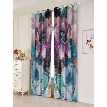 2Pcs Floral Blackout Window Curtain For Bedroom - COLORMIX W53 INCH * L84.5 INCH
