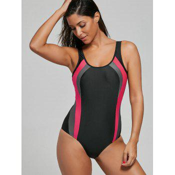 Open Back Color Block One Piece Sports Swimsuit - BLACK BLACK