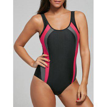 Open Back Color Block One Piece Sports Swimsuit