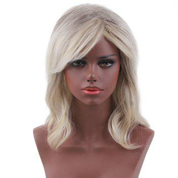 Short Side Bang Slightly Curly Colormix Human Hair Wig - COLORMIX COLORMIX