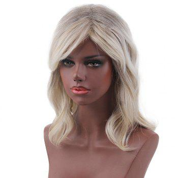 Short Side Bang Slightly Curly Colormix Human Hair Wig -  COLORMIX