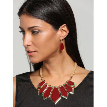 Plated Geometrical Statement Necklace and Earrings - RED RED