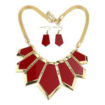 Plated Geometrical Statement Necklace and Earrings -  RED