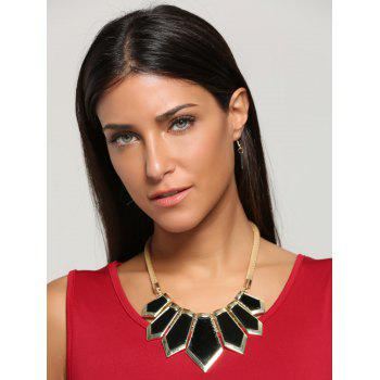 Plated Geometrical Statement Necklace and Earrings -  BLACK