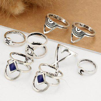 Faux Gem Engraved Geometric Moon Ring Set -  SILVER