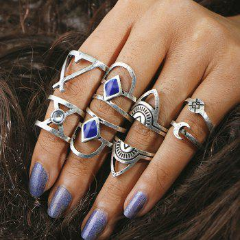 Faux Gem Engraved Geometric Moon Ring Set - SILVER SILVER