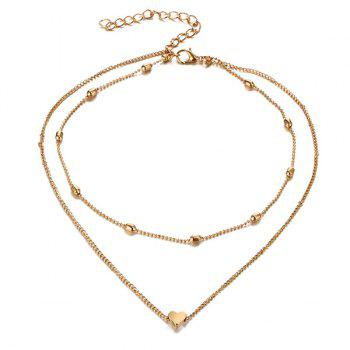 Collarbone Heart Layered Necklace - GOLDEN