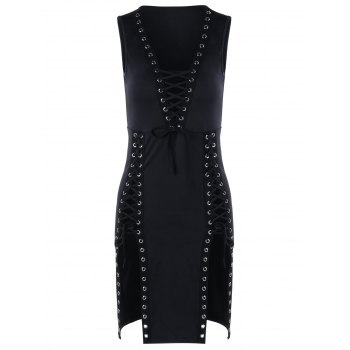 Plunging Neckline Lace Up Mini Bodycon Dress