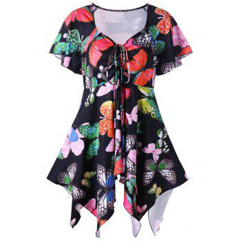 Plus Size Butterfly Print Handky Top