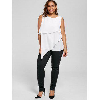 Plus Size Overlay Sleeveless Asymmetrical Top - 5XL 5XL
