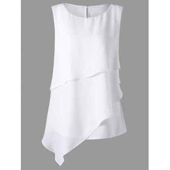 Plus Size Overlay Sleeveless Asymmetrical Top - WHITE 5XL