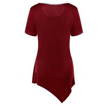 Color Block Asymmetrical Tunic Top - WINE RED M