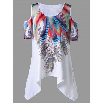 Plus Size Cold Shoulder Feather Asymmetrical Top