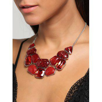 Faux Gemstone Statement Boho Necklace and Earrings -  RED