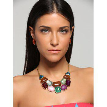 Faux Gemstone Statement Boho Necklace and Earrings - COLORFUL COLORFUL