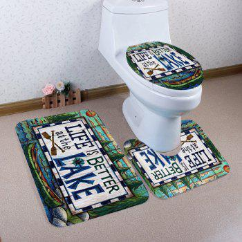 3Pcs Lake Letter Toilet Floor and Lid Cover Mats