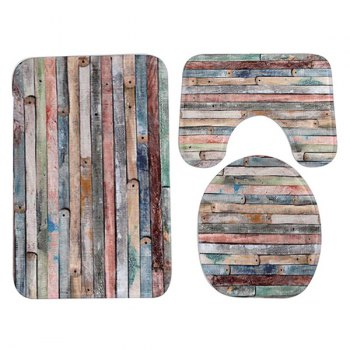 3Pcs Ensemble de tapis anti-glissement en bois - multicolorcolore