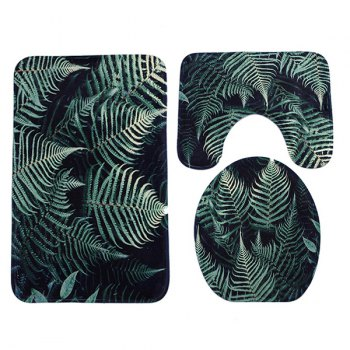 3Pcs Coral Fleece Fern Plants Bathroom Mats Set - BLACKISH GREEN