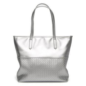 Woven PU Leather Shopper Bag