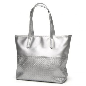 Woven PU Leather Shopper Bag - SILVER