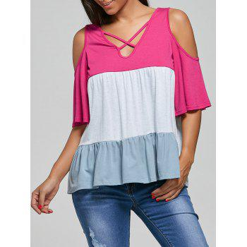 V Neck Cold Shoulder Criss Cross T-Shirt