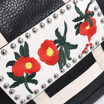 Faux Leather Flower Embroidered Tote Bag - BLACK