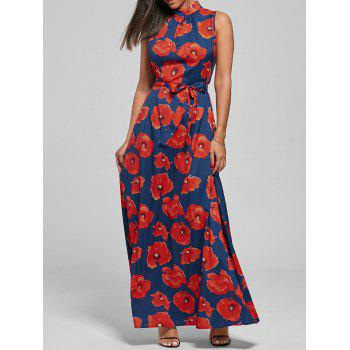 Floral Printed Belted Maxi Dress