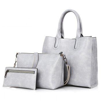 3 Pieces Faux Leather Tote Bag Set - LIGHT GRAY LIGHT GRAY