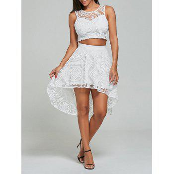 Lace Embroidered Top+High Low Skirt