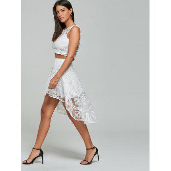Lace Embroidered Top+High Low Skirt - WHITE M