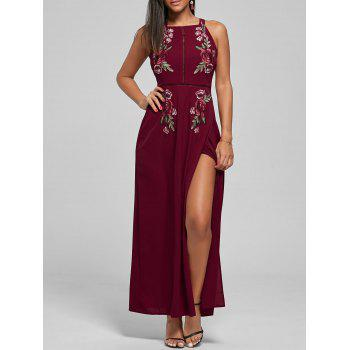 Floral Embroidered Self Tie Backless Slit Dress