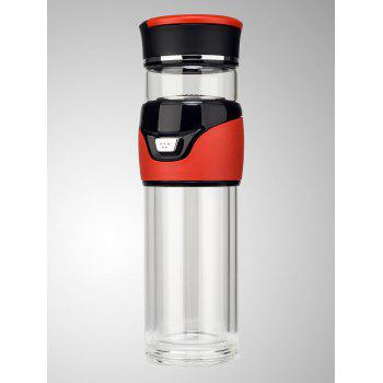 Travel Glass Kung Fu Tea Bottle with Filter - RED RED