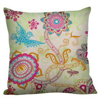 Bohemian Flower Bird Printed Linen Throw Pillow Case - COLORFUL 45*45CM