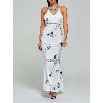 Hollow Out Floral Mermaid Cami Maxi Dress