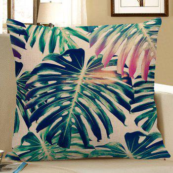 Decorative Palm Print Pillow Case - GREEN 45*45CM