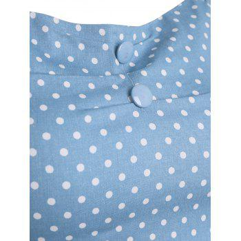 Slim Fit Off The Shoulder Polka Dot Top - Azur M
