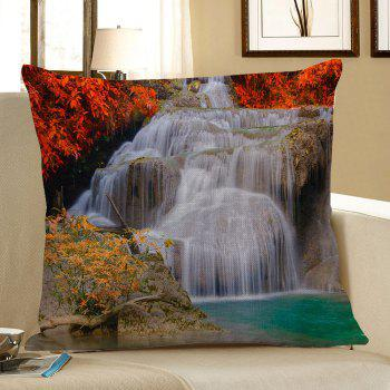 Waterfall Maple Leaf Printed Linen Pillow Case - COLORFUL 45*45CM