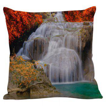 Waterfall Maple Leaf Printed Linen Pillow Case - 45*45CM 45*45CM