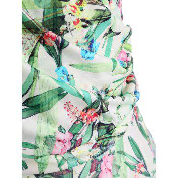 Plus Size Floral Leaves Print Surplice Dress - FLORAL 5XL