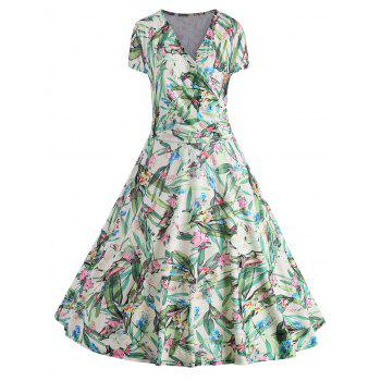 Plus Size Floral Leaves Print Surplice Dress