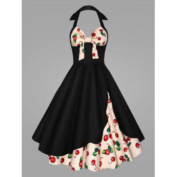 Plus Size Halter Cherry Print Pin Up Dress