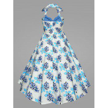 Plus Size Printed Halter Vintage Ball Dress - BLUE 2XL