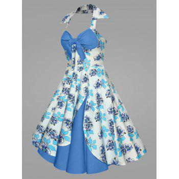 Plus Size Printed Halter Vintage Ball Dress - BLUE BLUE
