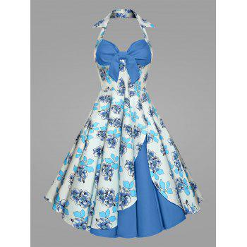Plus Size Printed Halter Vintage Ball Dress