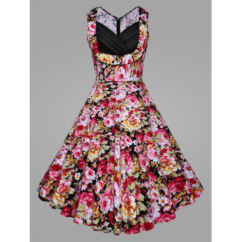 Plus Size Floral Blossom Vintage Swing Dress
