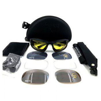 Tactical Detachable Cycling Glasses - BLACK BLACK